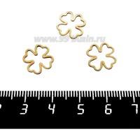 Коннектор нержавеющая сталь оксид титана Клевер 11*11*1 мм цвет золотистый 1 штука 061521 - 99 бусин