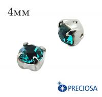 Шатоны (стразы) PRECIOSA пришивные хрустальные, размер ss-16 (4 мм), цвет Blue Zircon/silver, 10 штук/упаковка, Чехия 061577 - 99 бусин