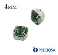 Шатоны (стразы) PRECIOSA пришивные хрустальные, размер ss-16 (4 мм), цвет Erinite/silver, 10 штук/упаковка, Чехия 061578 - 99 бусин