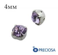 Шатоны (стразы) PRECIOSA пришивные хрустальные, размер ss-16 (4 мм), цвет Violet/silver, 10 штук/упаковка, Чехия 061580 - 99 бусин
