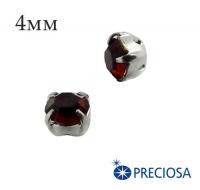 Шатоны (стразы) PRECIOSA пришивные хрустальные, размер ss-16 (4 мм), цвет Siam/silver, 10 штук/упаковка, Чехия 061586 - 99 бусин