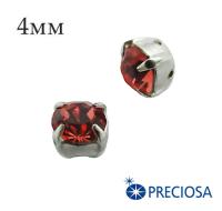 Шатоны (стразы) PRECIOSA пришивные хрустальные, размер ss-16 (4 мм), цвет Padparadscha/silver, 10 штук/упаковка, Чехия 061587 - 99 бусин