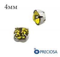 Шатоны (стразы) PRECIOSA пришивные хрустальные, размер ss-16 (4 мм), цвет Citrine/silver, 10 штук/упаковка, Чехия 061590 - 99 бусин