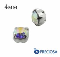 Шатоны (стразы) PRECIOSA пришивные хрустальные, размер ss-16 (4 мм), цвет Crystal AB/silver, 10 штук/упаковка, Чехия 061593 - 99 бусин