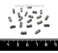 Бусина металлическая разделитель Столбик с точками 7*3,5 мм старое серебро 20 штук/упаковка 061598 - 99 бусин