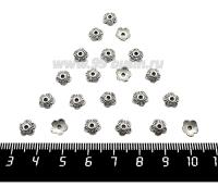 Шапочка для бусин Завиток 7*2 мм, цвет старое серебро, 30 штук/упаковка 061600 - 99 бусин