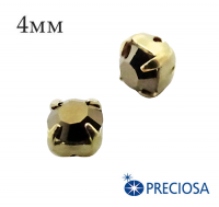 Шатоны (стразы) PRECIOSA пришивные хрустальные, размер ss-16 (4 мм), цвет Crystal Monte Carlo/gold, 10 штук/упаковка, Чехия 061604 - 99 бусин