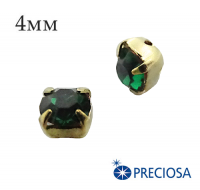 Шатоны (стразы) PRECIOSA пришивные хрустальные, размер ss-16 (4 мм), цвет Emerald/gold, 10 штук/упаковка, Чехия 061605 - 99 бусин