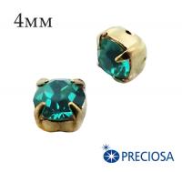 Шатоны (стразы) PRECIOSA пришивные хрустальные, размер ss-16 (4 мм), цвет Blue Zircon/gold, 10 штук/упаковка, Чехия 061606 - 99 бусин