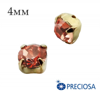 Шатоны (стразы) PRECIOSA пришивные хрустальные, размер ss-16 (4 мм), цвет Crystal Apricot/gold, 10 штук/упаковка, Чехия 061608 - 99 бусин