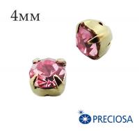 Шатоны (стразы) PRECIOSA пришивные хрустальные, размер ss-16 (4 мм), цвет Light Rose/gold, 10 штук/упаковка, Чехия 061610 - 99 бусин