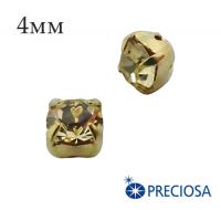 Шатоны (стразы) PRECIOSA пришивные хрустальные, размер ss-16 (4 мм), цвет Jonquil/gold, 10 штук/упаковка, Чехия 061611 - 99 бусин