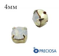 Шатоны (стразы) PRECIOSA пришивные хрустальные, размер ss-16 (4 мм), цвет White Opal/gold, 10 штук/упаковка, Чехия 061612 - 99 бусин