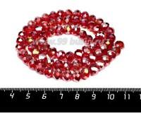 Бусина стеклянная на нитке мелкая грань 8*6 мм цвет темно-красный/перламутр около 40 см/нить 061613 - 99 бусин