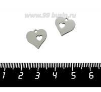 Подвеска, нержавеющая сталь,  Сердечко 12*13 мм, 1 штука 061631 - 99 бусин