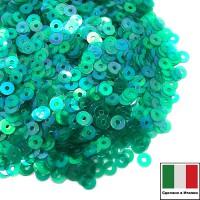 Пайетки 4 мм Италия плоские, цвет 7400 Verde Irise Trasparenti (Изумрудный прозрачный ирис) 3 грамма (ок.900 штук) 061656 - 99 бусин