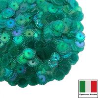 Пайетки 5 мм Италия рифлёные плоские, цвет 7400 Verde Irise Trasparenti (Изумрудный прозрачный ирис) 3 грамма 061657 - 99 бусин