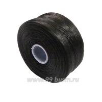 Нить Superlon (S-lon) D цвет Charcoal Grey, толщина 0,11 мм, катушка 71.3 метров 061668 - 99 бусин