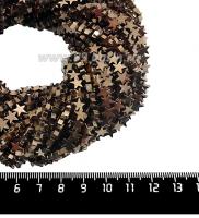 """Натуральный камень ГЕМАТИТ форма Звездочка 6*2 мм, покрытие цвета """"шоколад"""", около 20 см/42 шт/нить 061678 - 99 бусин"""