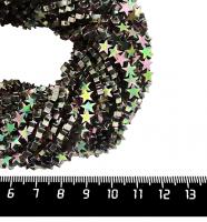 Натуральный камень ГЕМАТИТ форма Звездочка 6*2 мм, покрытие розово-зеленый мультиколор, около 20 см/42 шт/нить 061683 - 99 бусин