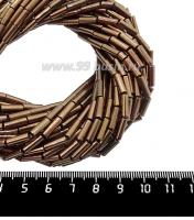 """Натуральный камень ГЕМАТИТ форма Столбик 9*3 мм, покрытие цвета """"шоколад"""", около 40 см/44 шт/нить 061699 - 99 бусин"""