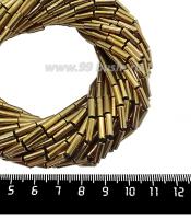 Натуральный камень ГЕМАТИТ форма Столбик 9*3 мм, покрытие античное золото, около 40 см/44 шт/нить 061706 - 99 бусин