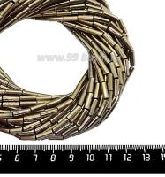 Натуральный камень ГЕМАТИТ форма Столбик 9*3 мм, покрытие бронза, около 40 см/44 шт/нить 061707 - 99 бусин