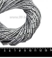 Натуральный камень ГЕМАТИТ форма Столбик 9*3 мм, покрытие серебро, около 40 см/44 шт/нить 061708 - 99 бусин