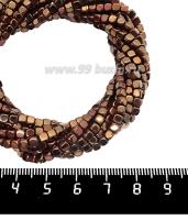Натуральный камень ГЕМАТИТ с покрытием под ПИРИТ кубик 3*3 мм, цвет шоколад, 40 см/нить 061715 - 99 бусин