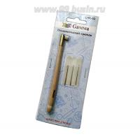 Люневильский крючок для вышивки Gamma, деревянная рукоятка 11 см, иглы-крючки диаметр 0.7, 1.0 и 1.2 мм , блистерная упаковка, 1 штука 061728 - 99 бусин