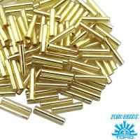 Стеклярус TOHO BUGLE 9 мм № 0022 светло-золотистый 5 граммов Япония 061734 - 99 бусин