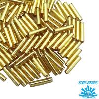 Стеклярус TOHO BUGLE 9 мм № 0022B золотистый 5 граммов Япония 061735 - 99 бусин