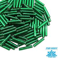 Стеклярус TOHO BUGLE 9 мм № 0036 темно-зеленый серебристое отверстие 5 граммов Япония 061737 - 99 бусин