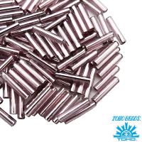 Стеклярус TOHO BUGLE 9 мм № 0026 бледно-сиреневый серебристое отверстие 5 граммов Япония 061741 - 99 бусин