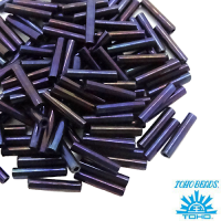 Стеклярус TOHO BUGLE 9 мм № 0082 синий ирис 5 граммов Япония 061745 - 99 бусин