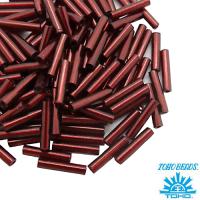 Стеклярус TOHO BUGLE 9 мм № 0025D гранатовый серебристое отверстие 5 граммов Япония 061748 - 99 бусин