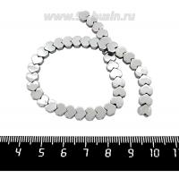 Натуральный камень ГЕМАТИТ бусина плоская Сердечко 6*5,5*2 мм, блестящий, цвет серебристый, около 20 см/нить 061787 - 99 бусин