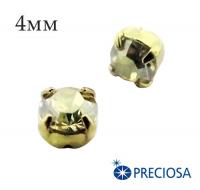 Шатоны (стразы) PRECIOSA пришивные хрустальные, размер ss-16 (4 мм), цвет Crystal BlondFlare/gold, 10 штук/упаковка, Чехия 061815 - 99 бусин