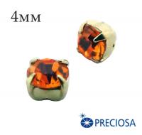 Шатоны (стразы) PRECIOSA пришивные хрустальные, размер ss-16 (4 мм), цвет Sun/gold, 10 штук/упаковка, Чехия 061819 - 99 бусин
