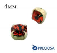Шатоны (стразы) PRECIOSA пришивные хрустальные, размер ss-16 (4 мм), цвет Hyacinth/gold, 10 штук/упаковка, Чехия 061820 - 99 бусин