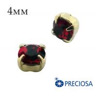 Шатоны (стразы) PRECIOSA пришивные хрустальные, размер ss-16 (4 мм), цвет Ruby/gold, 10 штук/упаковка, Чехия 061821 - 99 бусин
