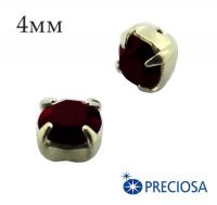 Шатоны (стразы) PRECIOSA пришивные хрустальные, размер ss-16 (4 мм), цвет Garnet/gold, 10 штук/упаковка, Чехия 061822 - 99 бусин