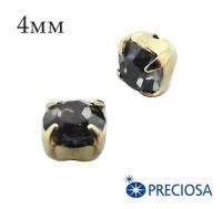 Шатоны (стразы) PRECIOSA пришивные хрустальные, размер ss-16 (4 мм), цвет Night Fall/gold, 10 штук/упаковка, Чехия 061823 - 99 бусин