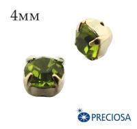 Шатоны (стразы) PRECIOSA пришивные хрустальные, размер ss-16 (4 мм), цвет Olivine/gold, 10 штук/упаковка, Чехия 061824 - 99 бусин