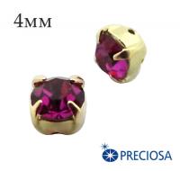 Шатоны (стразы) PRECIOSA пришивные хрустальные, размер ss-16 (4 мм), цвет Fuchsia/gold, 10 штук/упаковка, Чехия 061835 - 99 бусин