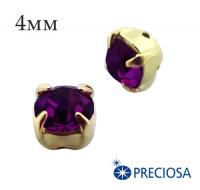 Шатоны (стразы) PRECIOSA пришивные хрустальные, размер ss-16 (4 мм), цвет Amethyst/gold, 10 штук/упаковка, Чехия 061836 - 99 бусин