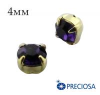 Шатоны (стразы) PRECIOSA пришивные хрустальные, размер ss-16 (4 мм), цвет Purple Velvet/gold, 10 штук/упаковка, Чехия 061837 - 99 бусин
