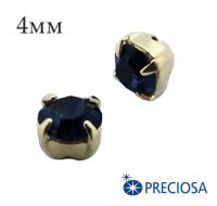 Шатоны (стразы) PRECIOSA пришивные хрустальные, размер ss-16 (4 мм), цвет Montana/gold, 10 штук/упаковка, Чехия 061840 - 99 бусин