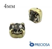 Шатоны (стразы) PRECIOSA пришивные хрустальные, размер ss-16 (4 мм), цвет Black Diamond/gold, 10 штук/упаковка, Чехия 061842 - 99 бусин