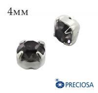 Шатоны (стразы) PRECIOSA пришивные хрустальные, размер ss-16 (4 мм), цвет NightFall/silver, 10 штук/упаковка, Чехия 061843 - 99 бусин